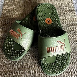 Puma Cool Cat Olive Green and Rose Gold Slides 8